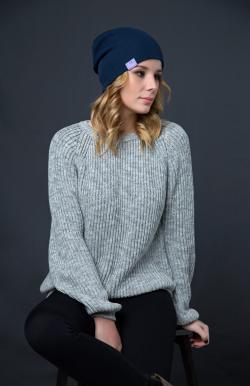 Шерстяная шапка тёмно-синяя