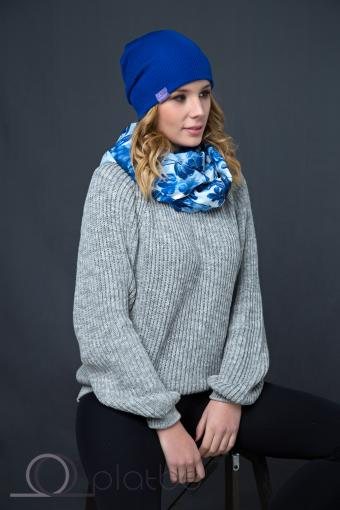 Шерстяная шапка синяя